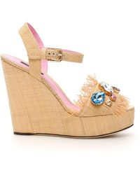 Dolce & Gabbana Embroidered Wedge Sandals - Natural