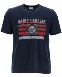 Saint Laurent T-SHIRT STAMPA ' LEAGUE' - Blu
