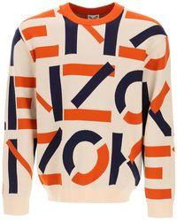 KENZO Monogram Jacquard Sweater L Cotton - Orange
