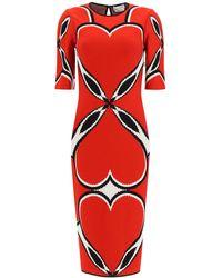 Alexander McQueen Love Heart Dress Xs - Red