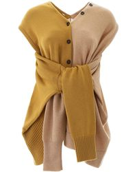 Marni Wrap-around Sleeves Knitted Top - Yellow