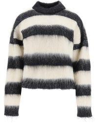 Saint Laurent PULLOVER IN MOHAIR A RIGHE - Multicolore
