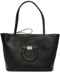 Ferragamo Maxi Gancio City Tote Leather Bag - Black