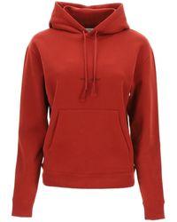 Saint Laurent Logo Print Hoodie - Red