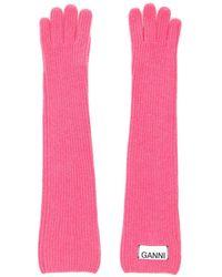 Ganni Rib-knitted Wool-blend Gloves - Pink