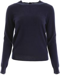 Tory Burch Buttoned Cashmere Pull - Blue