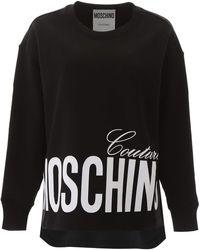 Moschino Logo Print Asymmetric Sweatshirt - Black