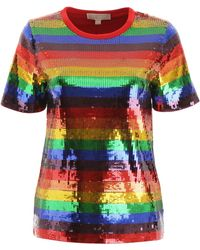 Michael Kors Rainbow Sequined Cotton-jersey T-shirt - Blue