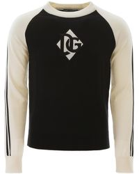 Dolce & Gabbana Two-tone Crew Neck Virgin Wool Jumper With Patch - Black