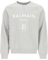 Balmain Sweatshirt With Logo Print - Grey
