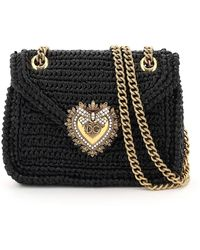 Dolce & Gabbana Crochet Raffia Devotion Bag - Black