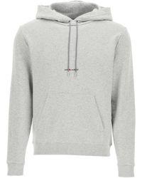 Saint Laurent Logo Print Hoodie - Gray