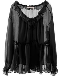 See By Chloé BLUSA OVERSIZE CON ROUCHES - Nero