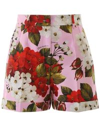 Dolce & Gabbana Floral Print Shorts - Red