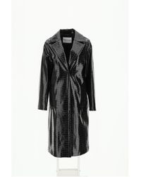 STAND Emerson Coat In Faux Leather 34 Faux Leather - Black