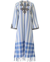 Tory Burch Embroidered Kaftan Dress - Blue