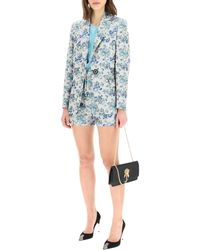Pinko Estroso Blazer In Floral Brocade 38 Cotton - Blue
