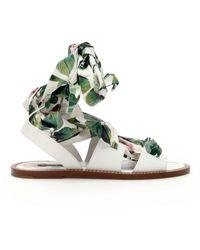 Dolce & Gabbana SANDALI FLAT ROSE PORTOFINO - Verde