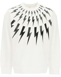 Neil Barrett Fair-isle Thunderbolt Crewneck Sweatshirt Xs Cotton - White