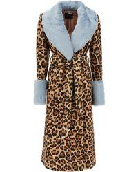 Blumarine Animalier Coat 40 Wool - Brown