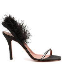 AMINA MUADDI Adwoa Crystal And Feather-embellished Satin Slingback Sandals - Black