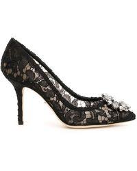 Dolce & Gabbana Floral Lace Pumps - Black