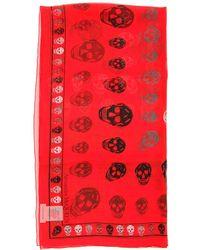 Alexander McQueen Silk Skull Scarf - Red