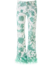 Alanui Tie-die Jeans With Feathers - Green