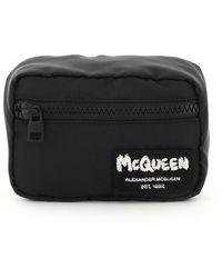 Alexander McQueen Pouch With Graffiti Logo Embroidery Os Technical - Black