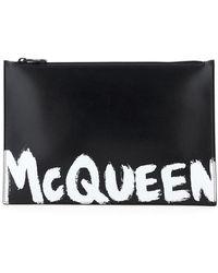 Alexander McQueen POUCH FLAT LOGO GRAFFITI - Nero