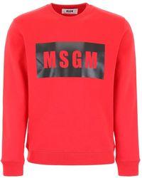 MSGM Felpa Con Stampa Logo - Rosso