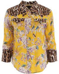 R13 Exaggerated Collar Mixed Print Cowboy Shirt - Yellow
