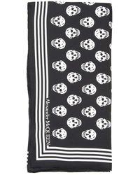 Alexander McQueen Skull Silk Twill Scarf - Black