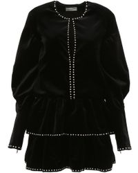 Saint Laurent - Studded Ruffled Velvet Mini Dress - Lyst