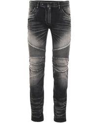 Balmain Jeans Biker Delavé - Nero