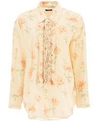 R13 Ruffled Oversized Shirt S Cotton - Multicolor