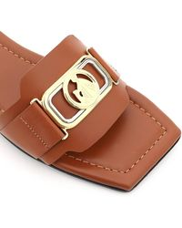 Lanvin Swan Mules Logo Buckle 36 Leather - Brown