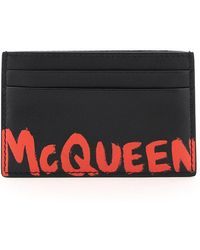 Alexander McQueen Graffiti Logo Credit Card Holder Os Leather - Black