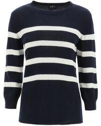 A.P.C. Lizzy Stripe Knit Jumper - Blue