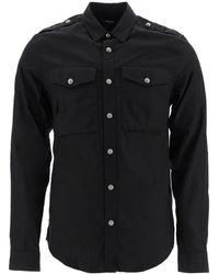 Balmain Cotton Shirt With Logo - Black