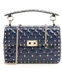 Valentino Valtnino Garavani Patent Rockstud Shoulder Bag - Blue