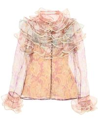 Zimmermann Lucky Tired Printed Organza Blouse - Natural