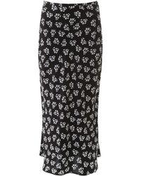 RIXO London Floral-printed Kelly Skirt - Black