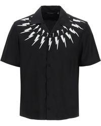 Neil Barrett Hawaiian Fair Isle Thunderbolt Shirt S Cotton - Black