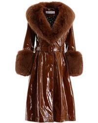 Saks Potts Foxy Glossy Leather Coat - Brown
