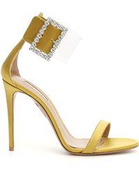 Aquazzura Casablanca Strass Sandals 105 - Metallic