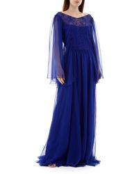 Alberta Ferretti Long Chiffon Dress - Blue
