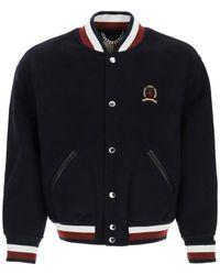 Tommy Hilfiger Varsity Wool Bomber Jacket S Wool - Blue