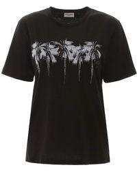 Saint Laurent Palm Trees Print T-shirt - Black