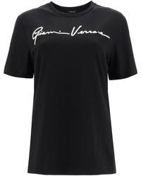 Versace T-SHIRT CON RICAMO GV SIGNATURE - Nero